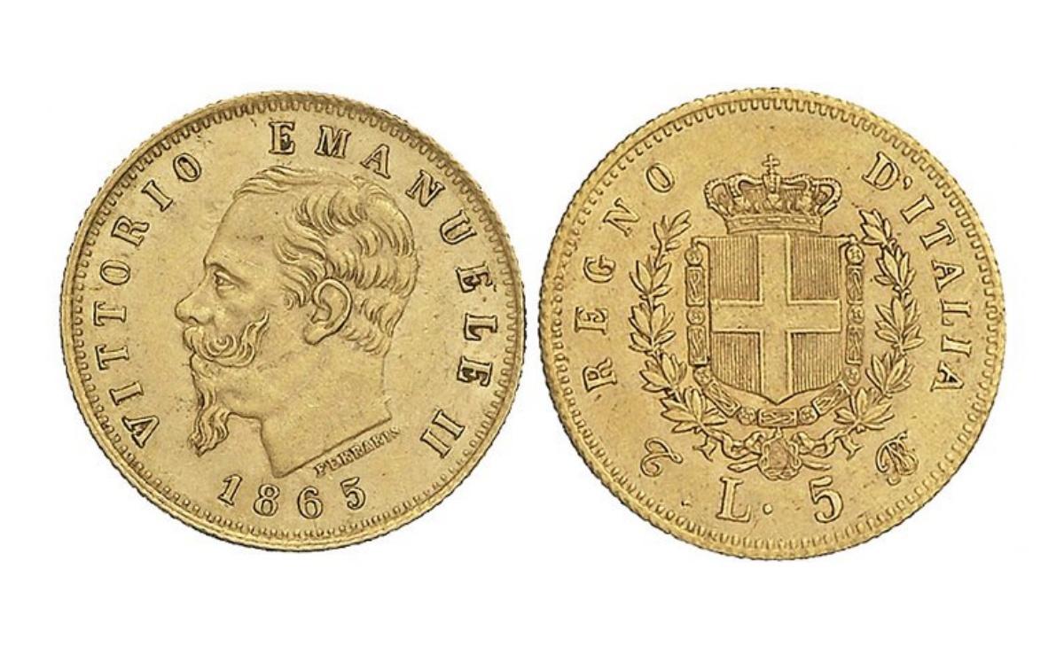 Valore moneta da 5 Lire Vittorio Emanuele II Stemma ORO
