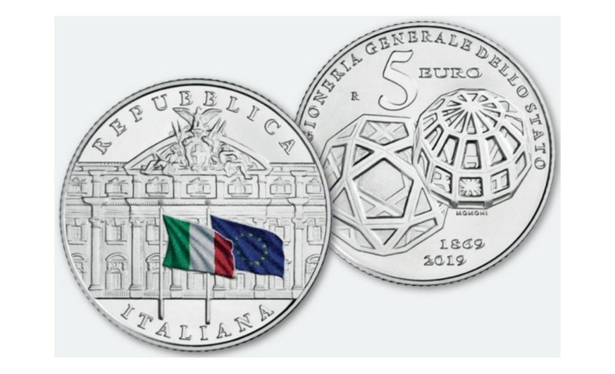 Valore moneta da 5 euro 150esimo Anniversario della Ragioneria dello Stato