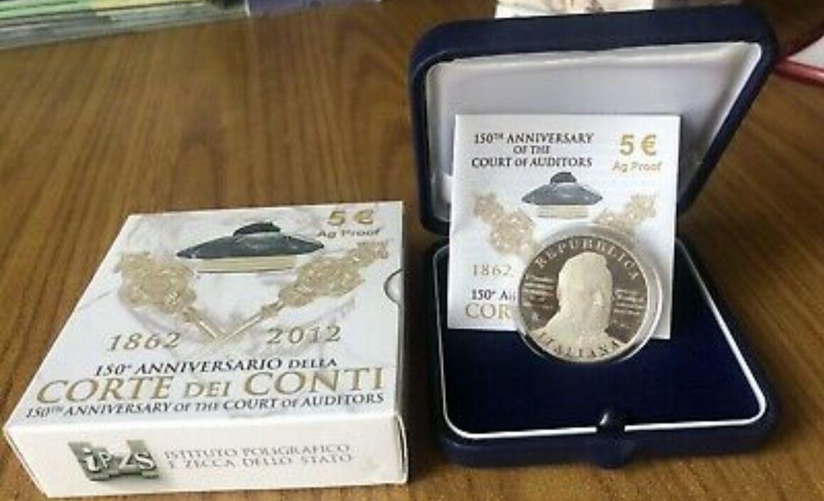 Moneta da 5 euro 150esimo anniversario dell'istituzione della Corte dei Conti