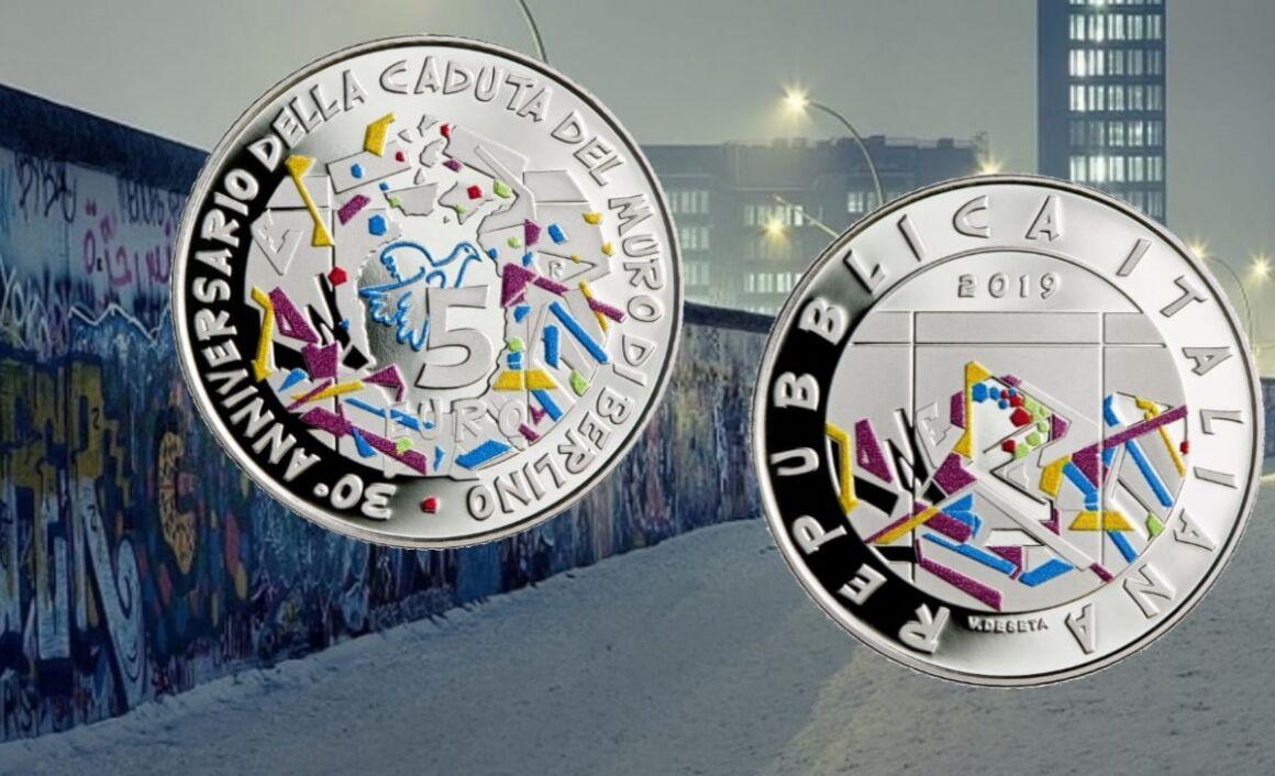 Moneta da 5 euro 30esimo anniversario della caduta del Muro di Berlino