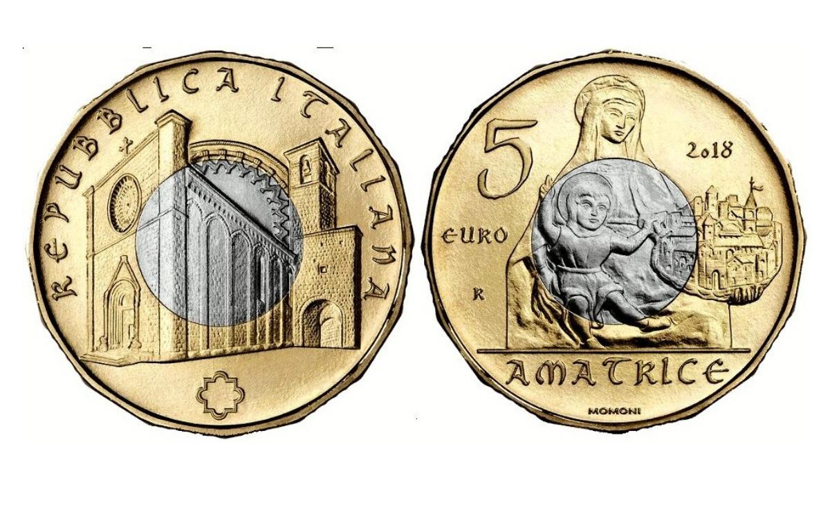 Valore moneta da 5 euro Tesori Artistici di Amatrice