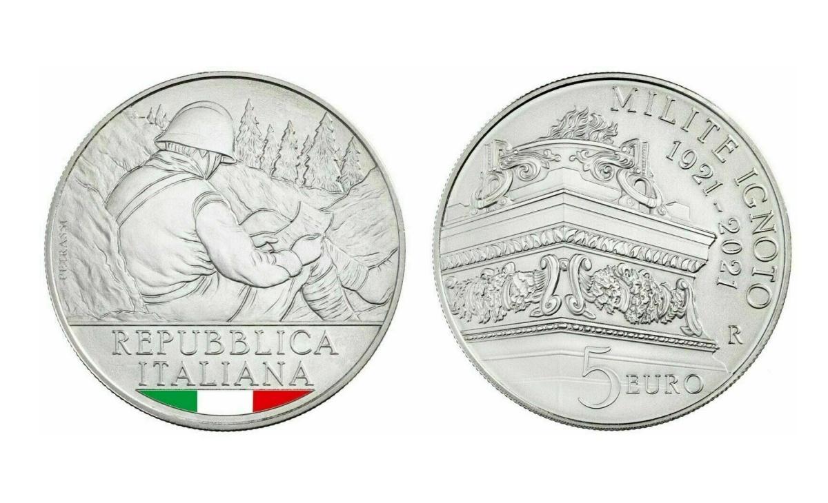 Valore della moneta da 5 euro Centenario del Milite Ignoto