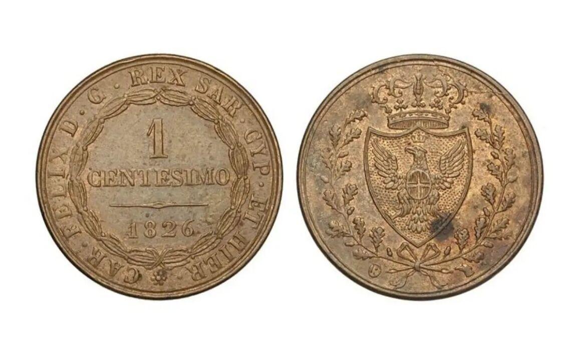 Valore moneta da 1 Centesimo Carlo Felice Lira Sarda