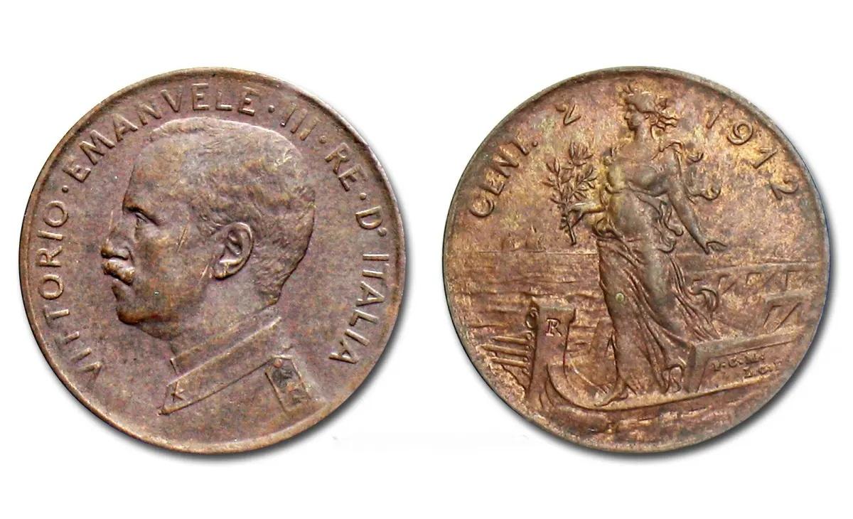 Valore moneta da 2 centesimi Vittorio Emanuele III Italia su prora