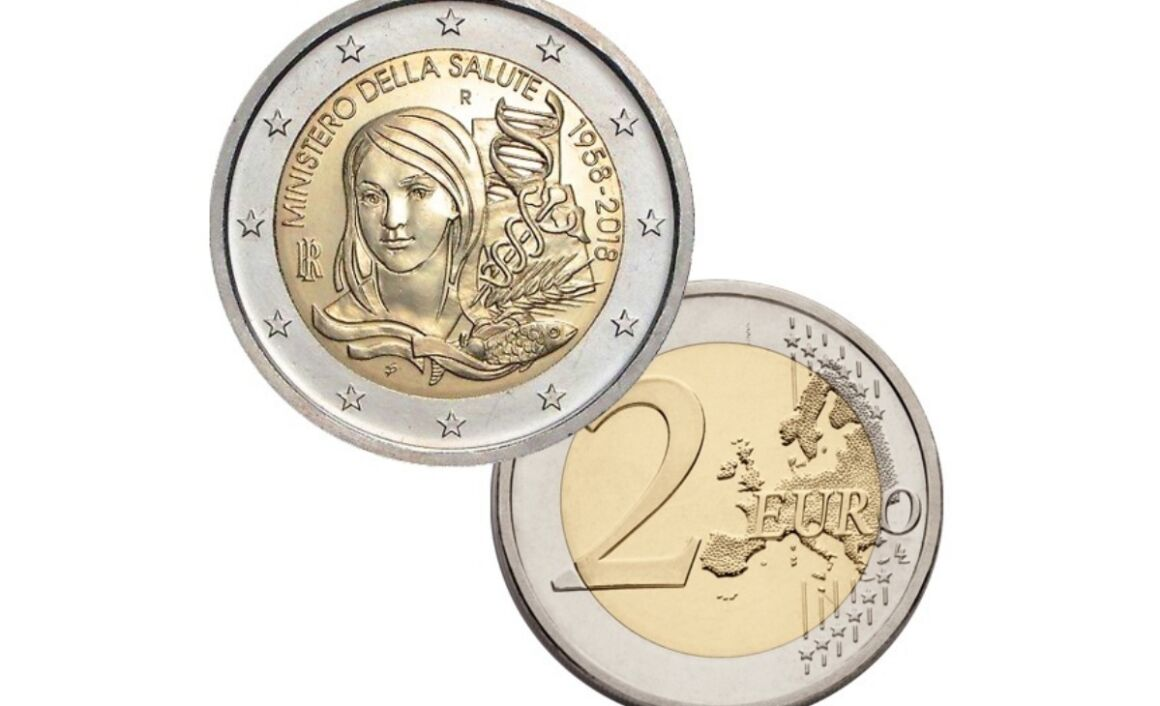 Caratteristiche moneta da 2 euro 60° Anniversario dell'Istituzione del Ministero della Salute