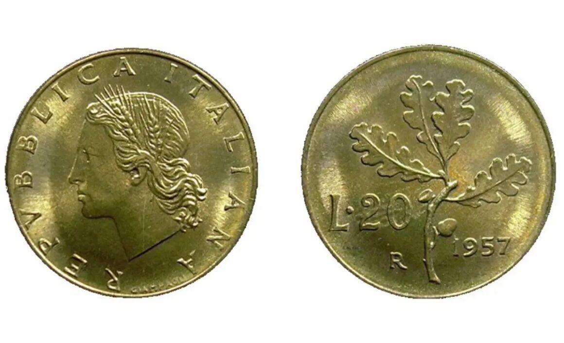 Valore moneta da 20 Lire Quercia