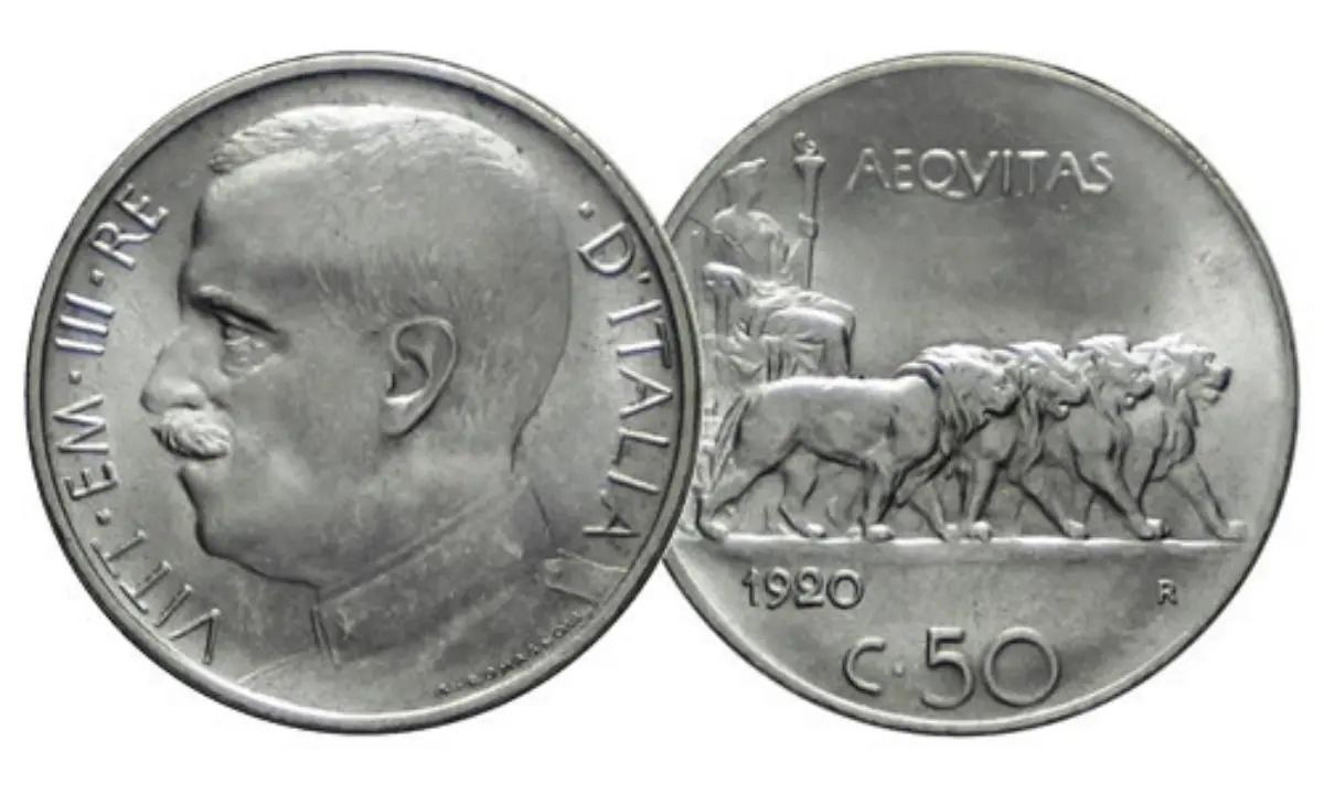 Valore moneta da 50 Centesimi Leoni Vittorio Emanuele III