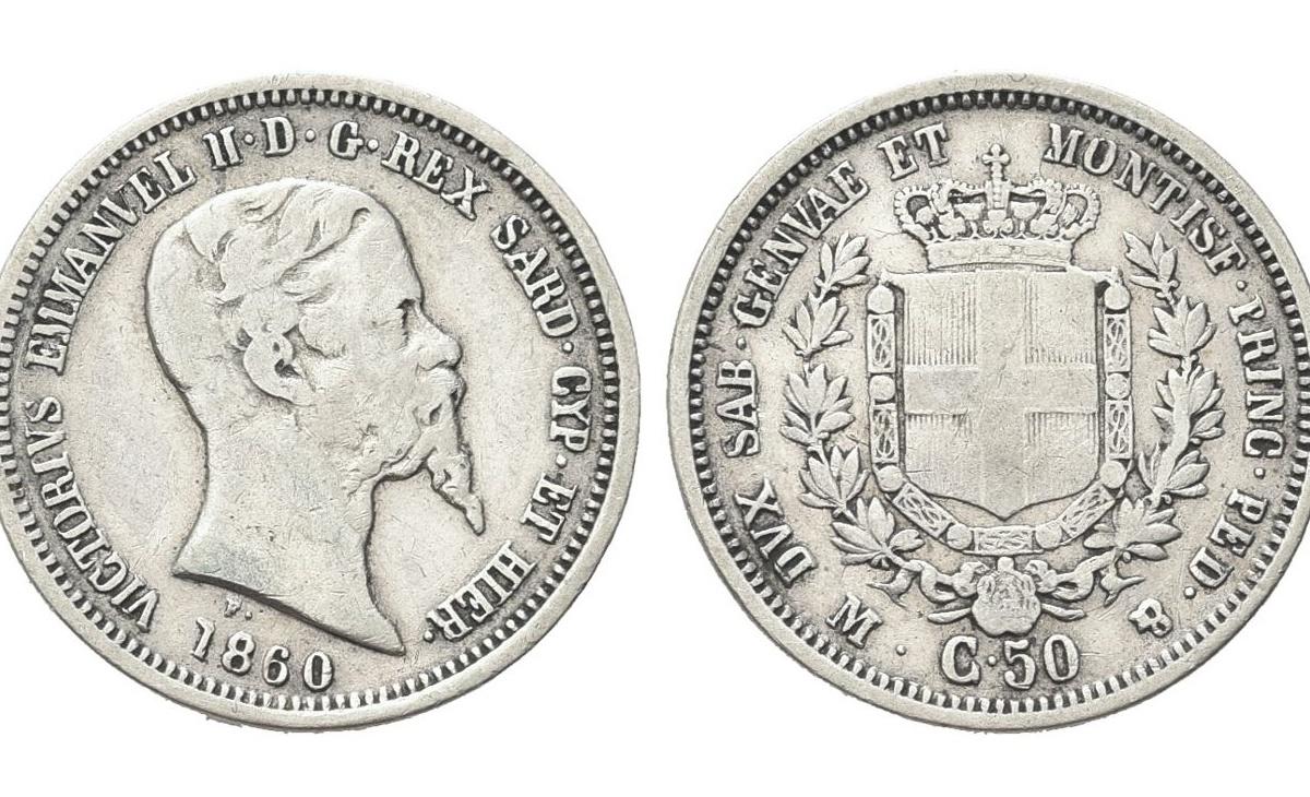 Valore moneta da 50 Centesimi Lire Vittorio Emanuele II